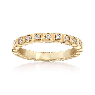 Italian .10 ct. t.w. CZ Squared Ring in 18kt Yellow Gold Over Sterling, , default