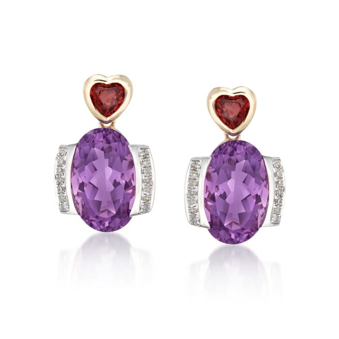 6.75 ct. t.w. Amethyst and .60 ct. t.w. Garnet Earrings with .11 ct. t.w. Diamonds in 14kt Yellow Gold