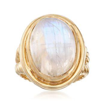Moonstone Roped Ring in 18kt Gold Over Sterling, , default
