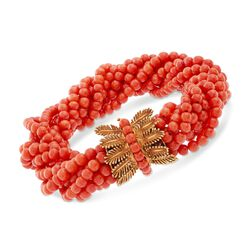 "C. 1950 Vintage Twisted Multi-Strand Coral Bead Bracelet in 18kt Yellow Gold. 8.5"", , default"