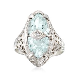 C. 1950 Vintage 2.50 ct. t.w. Aquamarine Ring With Diamond Accents in 14kt White Gold. Size 6.5, , default