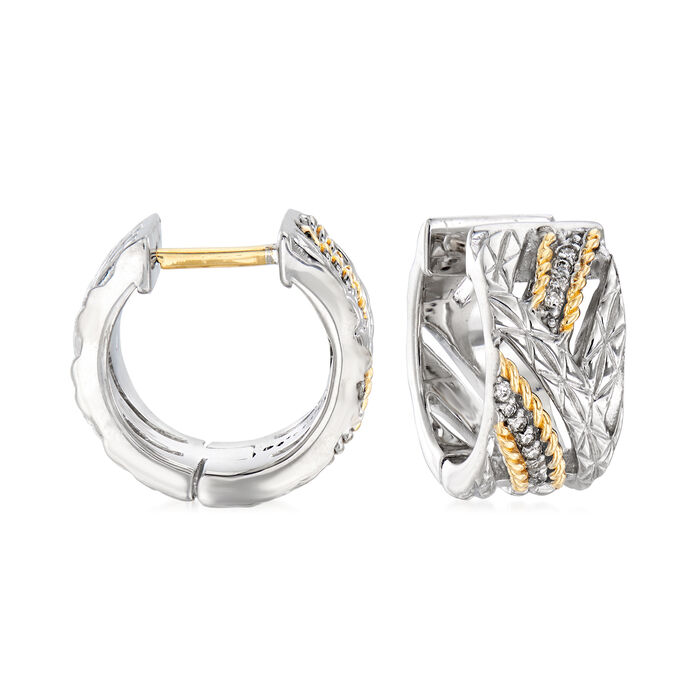 """Andrea Candela """"Arco Iris"""" .12 ct. t.w. Diamond Huggie Hoop Earrings in Sterling Silver and 18kt Yellow Gold. 1/2"""""""