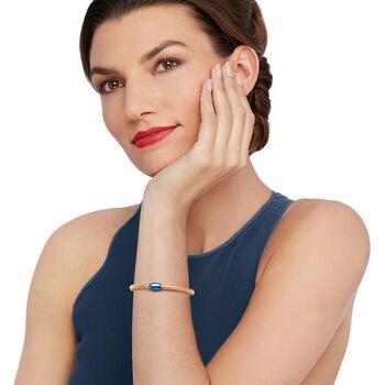 """Italian 14kt Yellow Gold Mesh Tube and Blue Bead Center Bangle Bracelet. 7"""""""