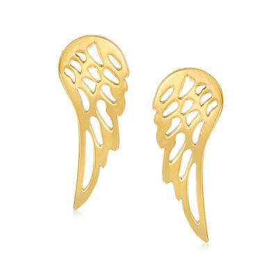 Italian 14kt Yellow Gold Wing Earrings, , default
