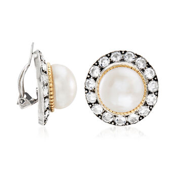 11-12mm Cultured Pearl and 3.90 ct. t.w. White Topaz Clip-On Earrings in Sterling Silver and 14kt Yellow Gold, , default
