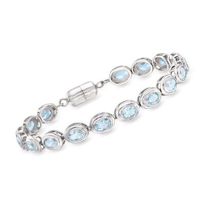 9.00 ct. t.w. Aquamarine Bracelet in Sterling Silver with Magnetic Clasp