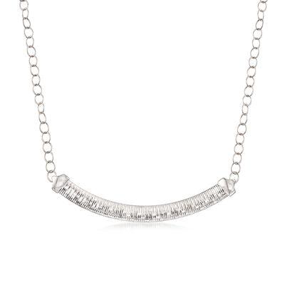 Italian Sterling Silver Diamond-Cut Cubetto Link Necklace, , default