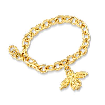 Italian Andiamo 14kt Yellow Gold Bee Charm Bracelet, , default