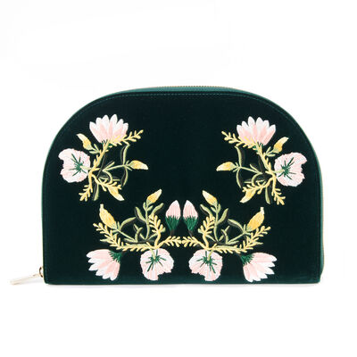 Forest Green Velvet Floral Jewelry Travel Case, , default