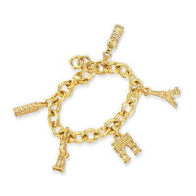 Italian Andiamo 14kt Gold Over Resin Iconic Landmark Charm Bracelet, , default