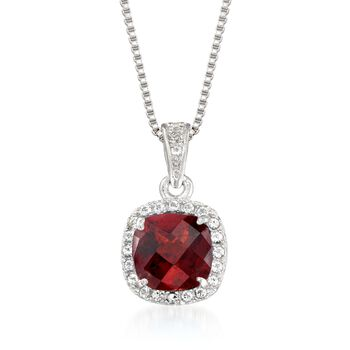 """1.10 Carat Garnet and .10 ct. t.w. White Topaz Pendant Necklace in Sterling Silver. 18"""", , default"""