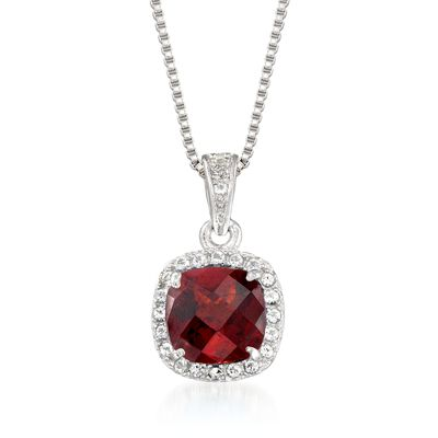 1.10 Carat Garnet and .10 ct. t.w. White Topaz Pendant Necklace in Sterling Silver, , default