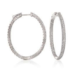 2.20 ct. t.w. CZ Inside-Outside Hoop Earrings in Sterling Silver, , default