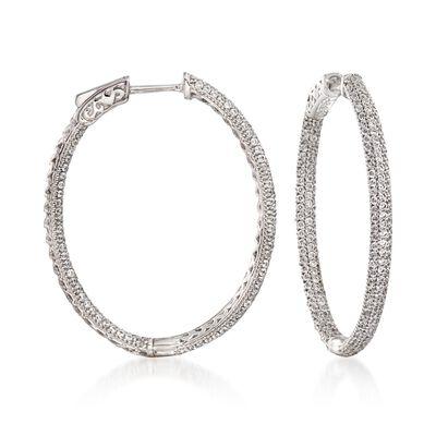 2.20 ct. t.w. CZ Inside-Outside Hoop Earrings in Sterling Silver, , default