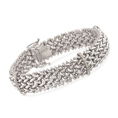 .23 ct. t.w. Diamond Riso Link Station Bracelet in Sterling Silver