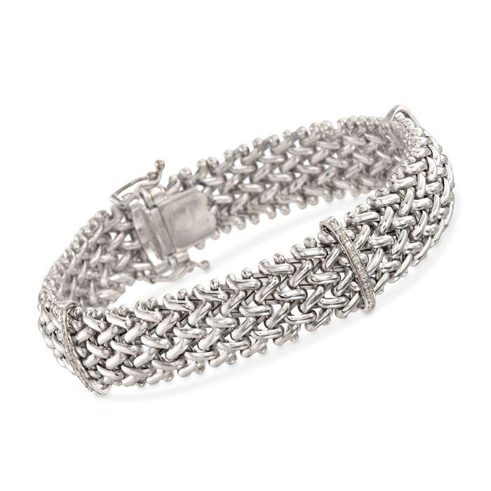 .23 ct. t.w. Diamond Riso Link Station Bracelet in Sterling Silver, , default