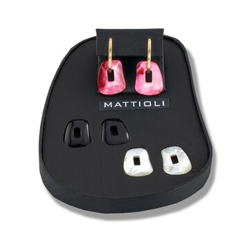 """Mattioli """"Puzzle"""" 18kt Yellow Gold Earrings with Three Interchangeable Drops: Black Onyx and Pink and White Mother-Of-Pearl, , default"""