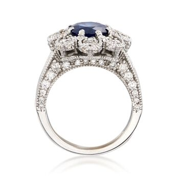 C. 2000 Vintage 2.00 Carat Sapphire and 1.80 ct. t.w. Diamond Floral Ring in 14kt White Gold. Size 6.25, , default