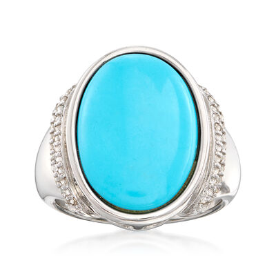 Turquoise Ring and .50 ct. t.w. White Zircon Ring in Sterling Silver, , default