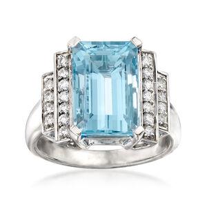 5.50 Carat Aquamarine and .30 ct. t.w. Diamond Ring in 14kt White Gold #921746