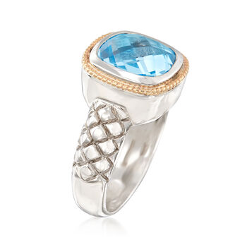 4.60 Carat Cushion-Cut Blue Topaz Ring in Sterling Silver and 14kt Yellow Gold