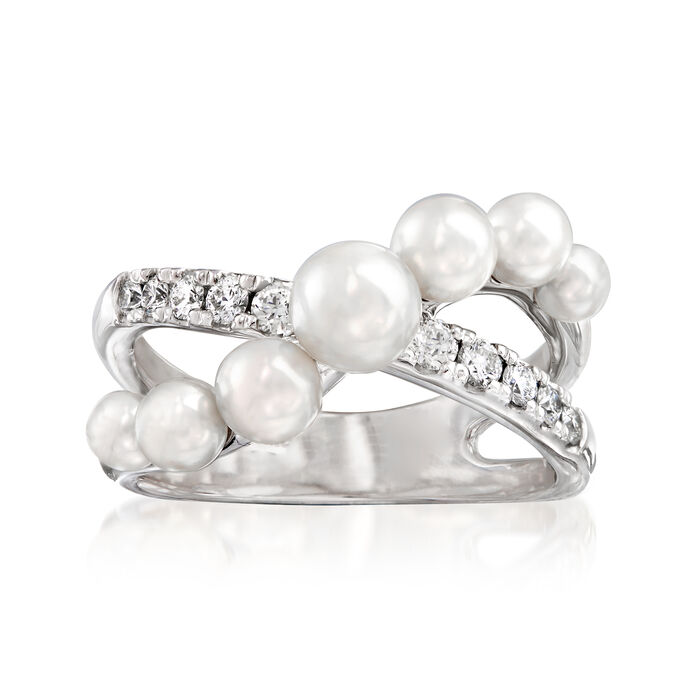 """Mikimoto """"Japan"""" 3.25-5.35mm A+ Akoya Pearl and .22 ct. t.w. Diamond Crisscross Ring in 18kt White Gold. Size 7"""