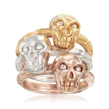 Tri-Colored Sterling Silver Skull Jewelry Set: Three Rings with .11 ct. t.w. Diamonds. Size 5, , default