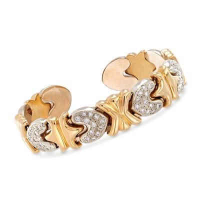 C. 1990 Vintage 1.00 ct. t.w. Pave Diamond Heart Cuff Bracelet in 14kt Two-Tone Gold, , default