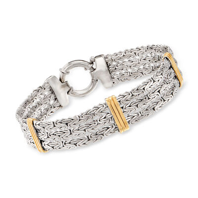 Sterling Silver Byzantine Station Bracelet with 14kt Yellow Gold
