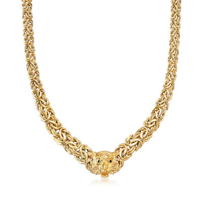 Italian 14kt Yellow Gold Tiger Head Necklace with Enamel