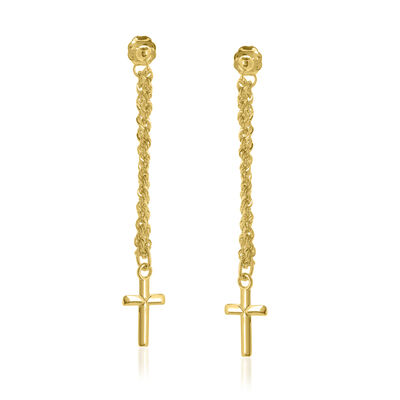 14kt Yellow Gold Front-To-Back Chain Corss Earrings