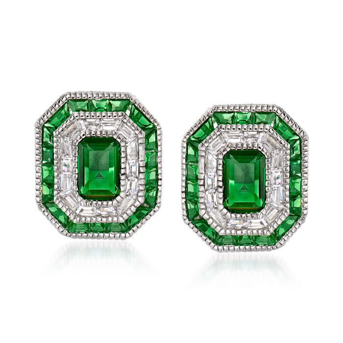 Simulated Emerald and .50 ct. t.w. CZ Stud Earrings in Sterling Silver, , default