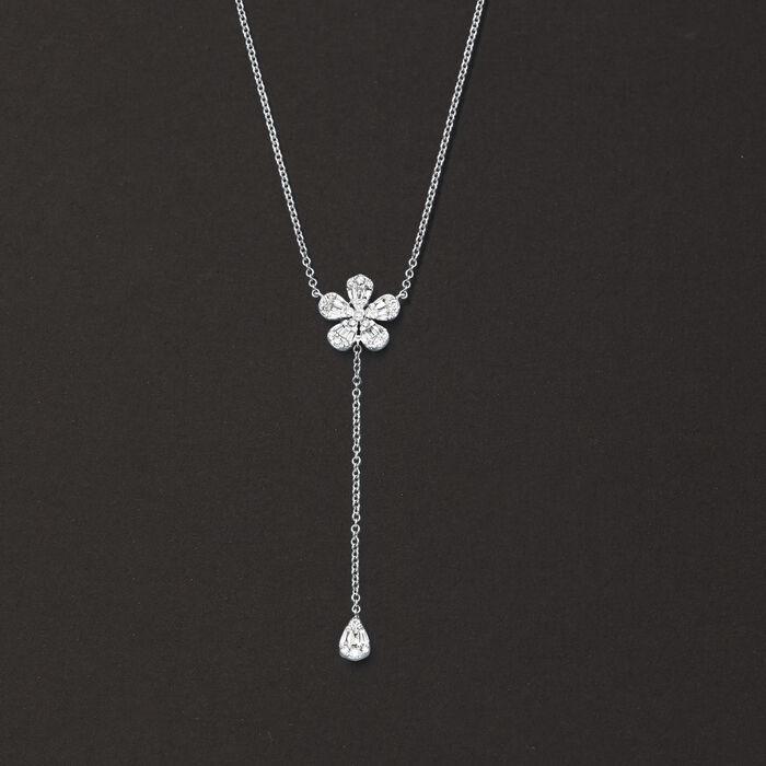 .40 ct. t.w. Diamond Flower Lariat Necklace in 14kt White Gold