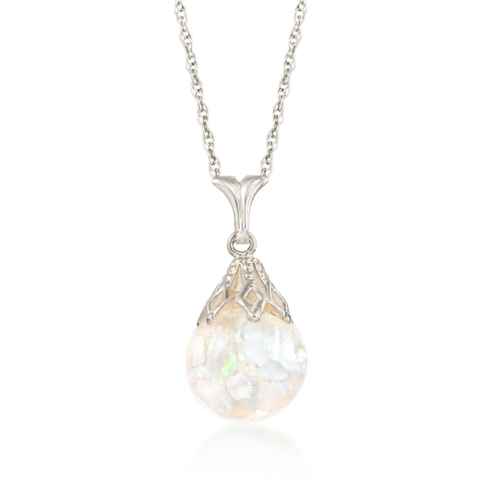 floating opal pendant necklace in 14kt white gold ross