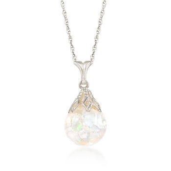 Floating Opal Pendant Necklace in 14kt White Gold, , default