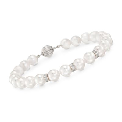 7-7.5mm Cultured Akoya Pearl Bracelet With Diamond Accents and 14kt White Gold, , default