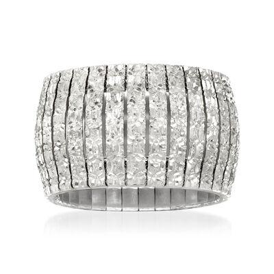 Italian Sterling Silver Diamond-Cut Cleopatra Ring, , default