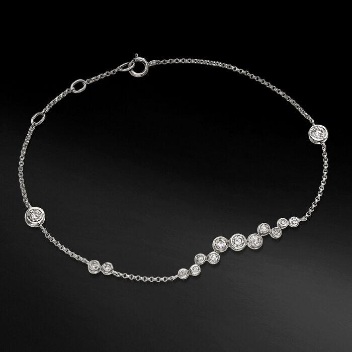 .61 ct. t.w. Bezel-Set Diamond Cluster Bracelet in 14kt White Gold
