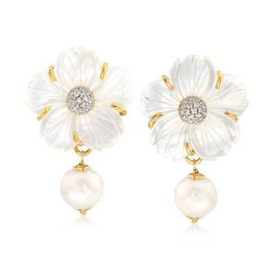 Italian Mother-Of-Pearl and 12mm Cultured Pearl Flower Drop Earrings with CZs in 18kt Gold Over Sterling, , default