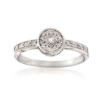 "ALOR ""Flamme Blanche"" .15 ct. t.w. Diamond Circle Ring in 18kt White Gold, , default"