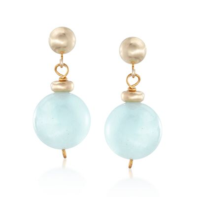 14.00 ct. t.w. Aquamarine Bead Drop Earrings in 14kt Yellow Gold, , default