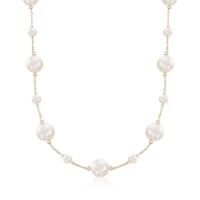 6-13mm Cultured Pearl Station Necklace in 14kt Yellow Gold, , default