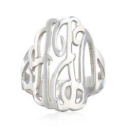 Sterling Silver Open Script Monogram Ring, , default