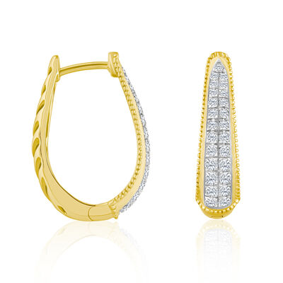 .50 ct. t.w. Diamond Tapered Hoop Earrings in 14kt Yellow Gold