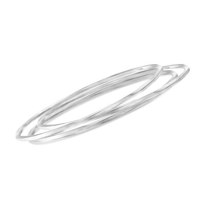 Sterling Silver Jewelry Set: Three Twisted Bangle Bracelets, , default