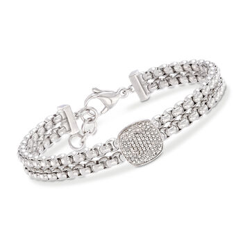 """.10 ct. t.w. Pave Diamond Link Bracelet in Stainless and Sterling Silver. 7"""", , default"""