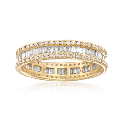 1.00 ct. t.w. Baguette and Round Diamond Eternity Ring in 14kt Yellow Gold, , default