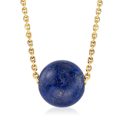Lapis Bead Necklace in 18kt Gold Over Sterling, , default
