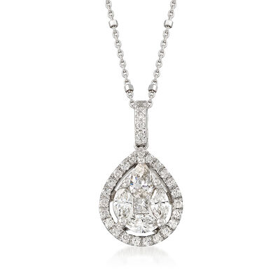 1.06 ct. t.w. Diamond Halo Pendant Necklace in 14kt White Gold, , default
