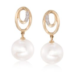7.5mm Cultured Pearl Drop Earrings With Diamond Accents in 14kt Yellow Gold, , default